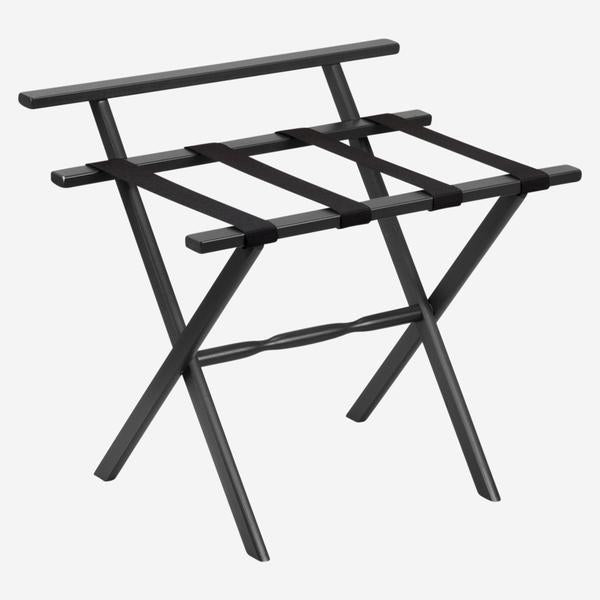 Black Nylon Wood Luggage Rack With Wall Protector
