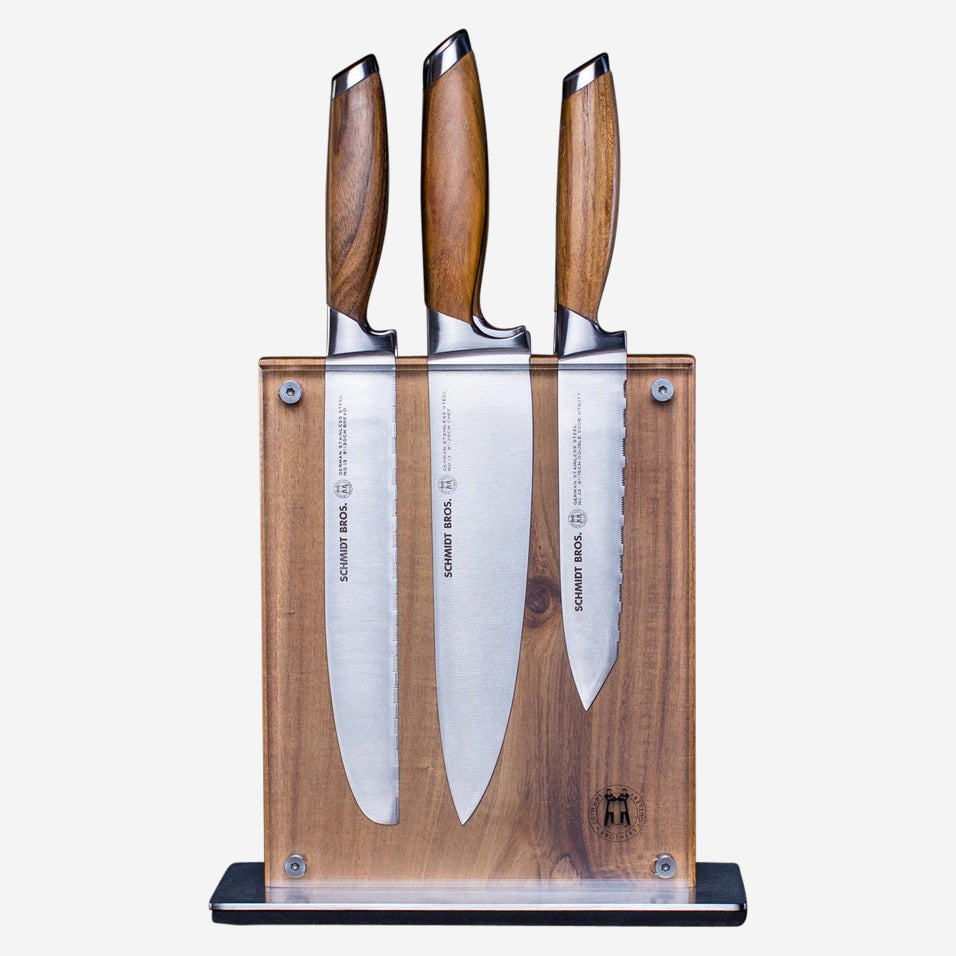 Bonded Teak Knife Set with Acacia Block