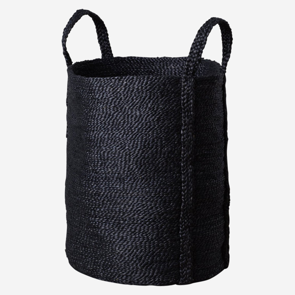 Jute Laundry Basket Black