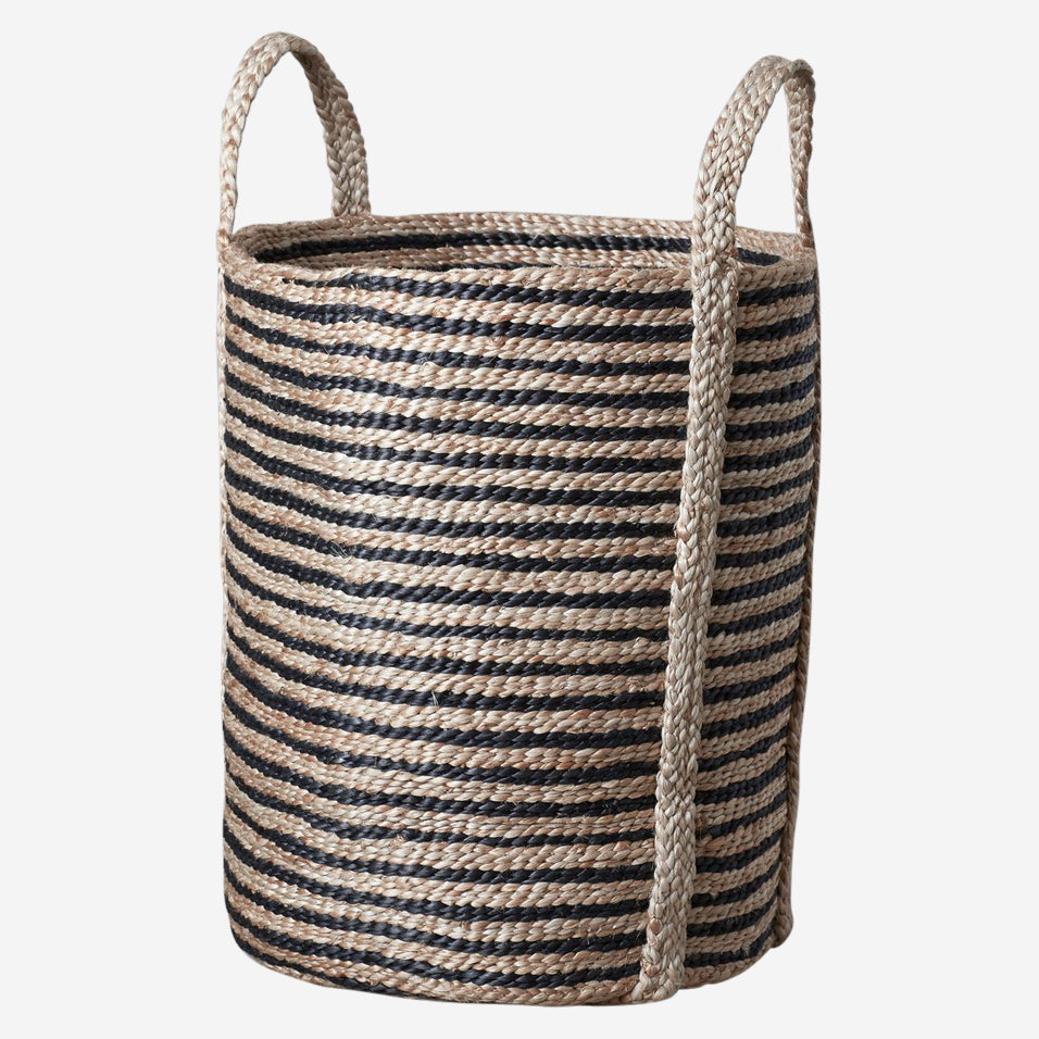 Jute Laundry Basket Striped