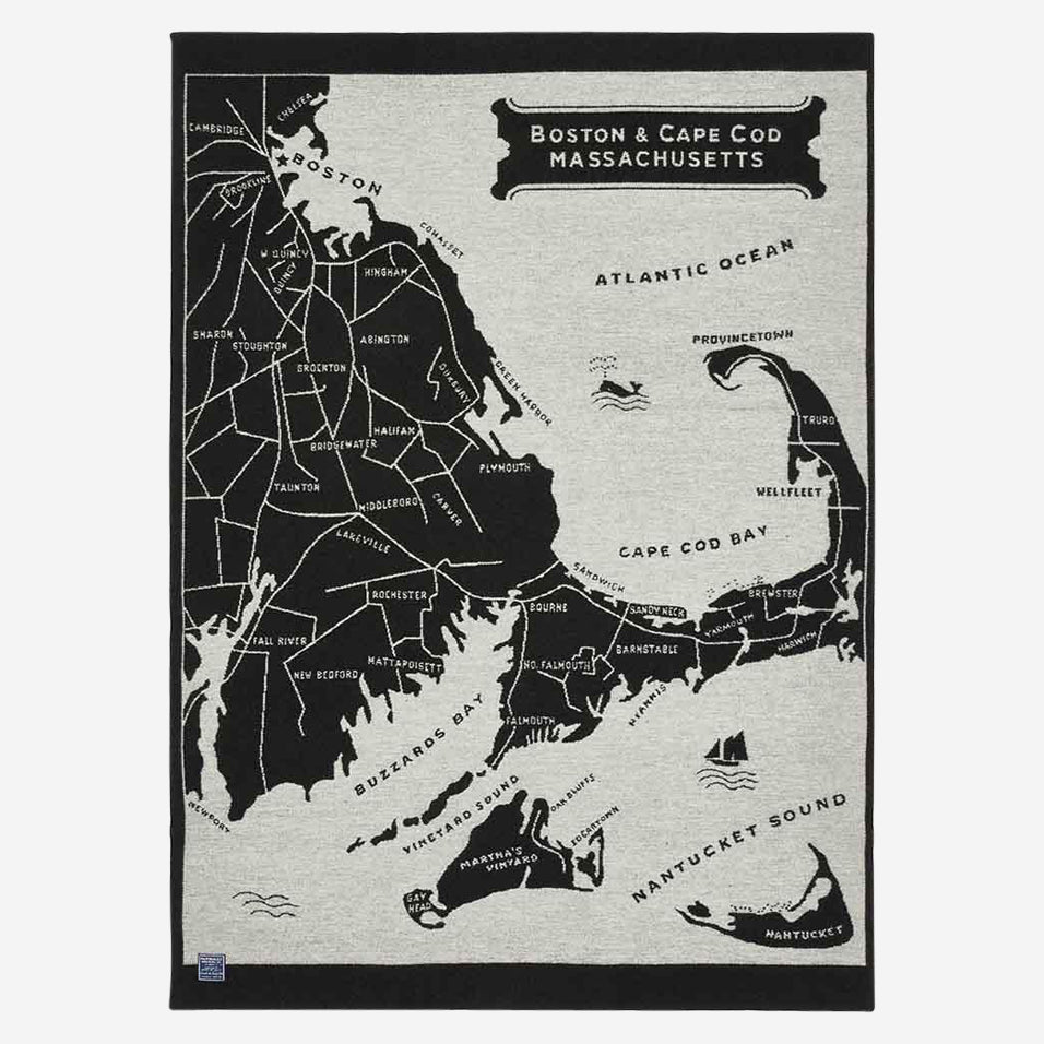 Boston & Cape Cod Map Throw
