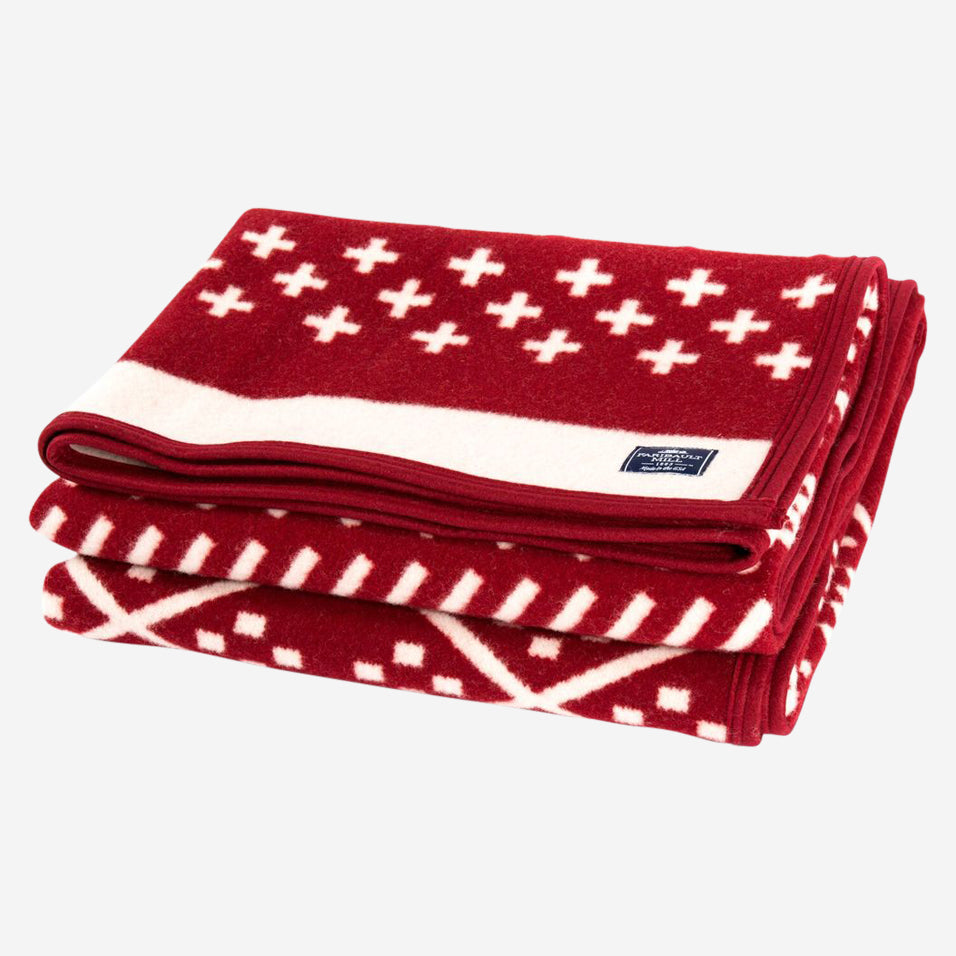 Northern Fair Isle Throw Red / Natural