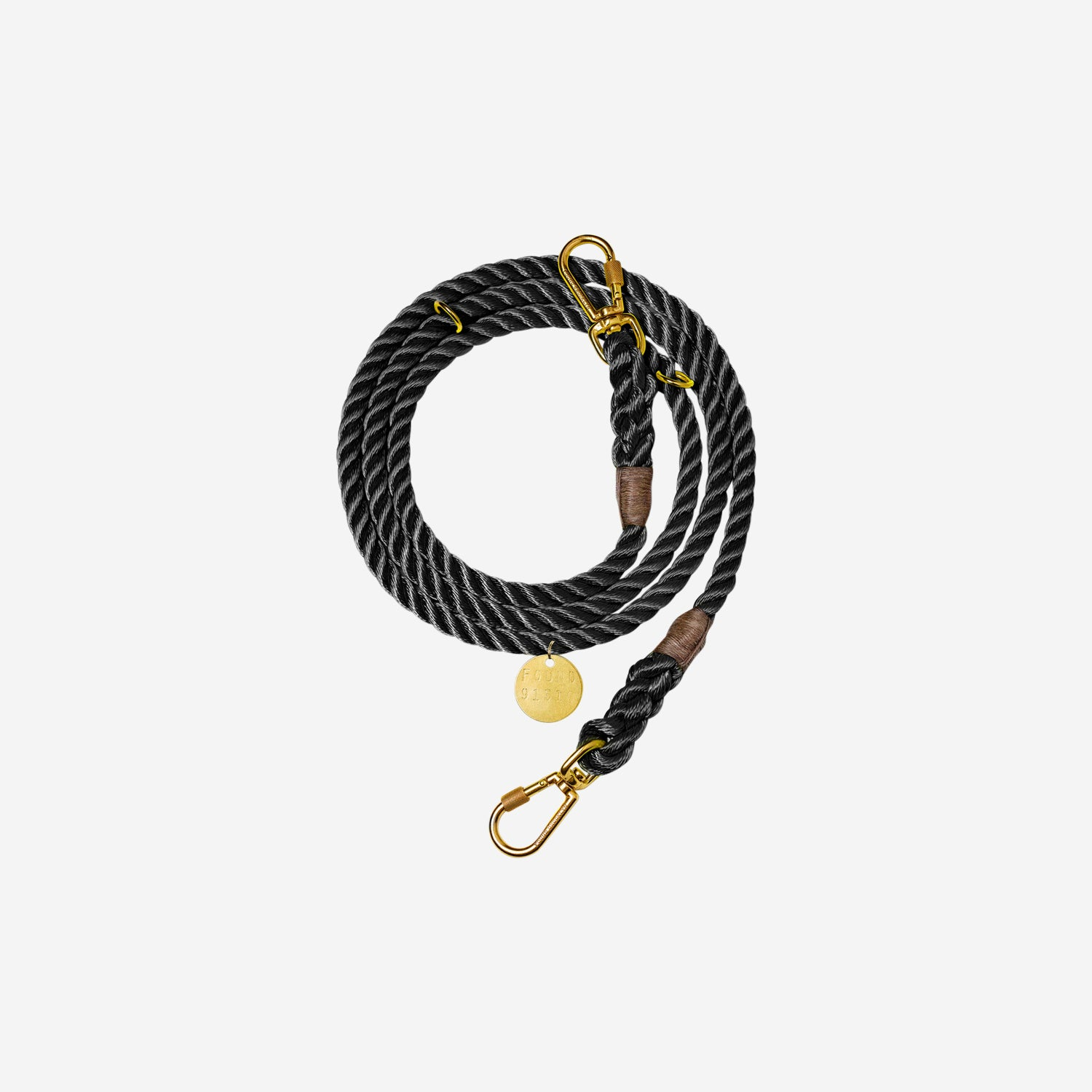 Nylon Rope Leash Black