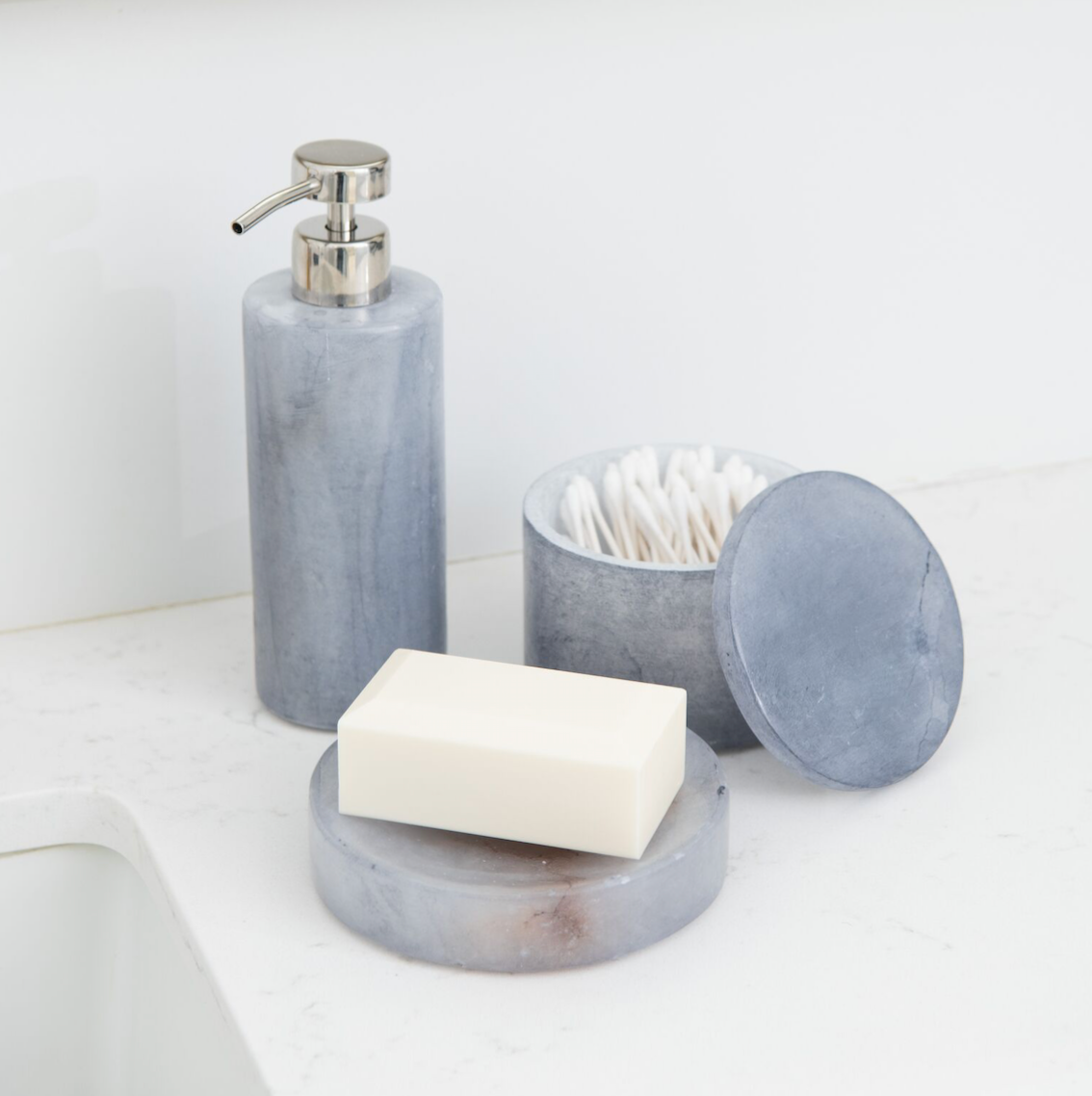 Alabaster Bathroom Accessory Set