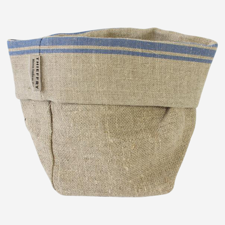 Blue Stripe Linen Bread Bag