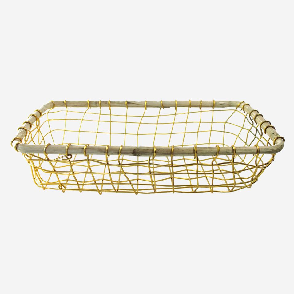 Gold Wire and Cane Rectangular Basket