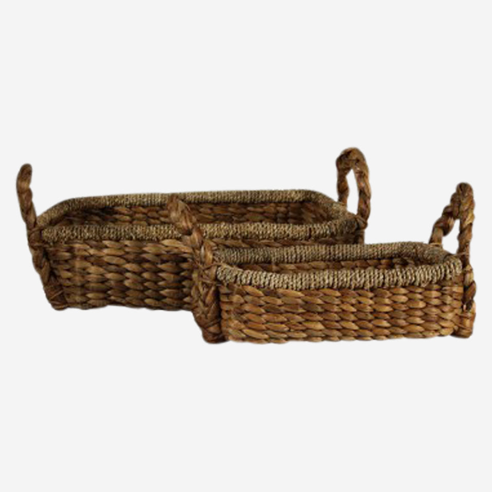 Braided Rectangular Water Hyacinth Tray Set