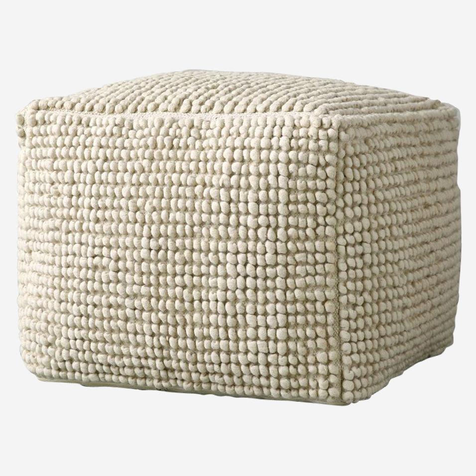 New Zealand Wool Pouf Natural