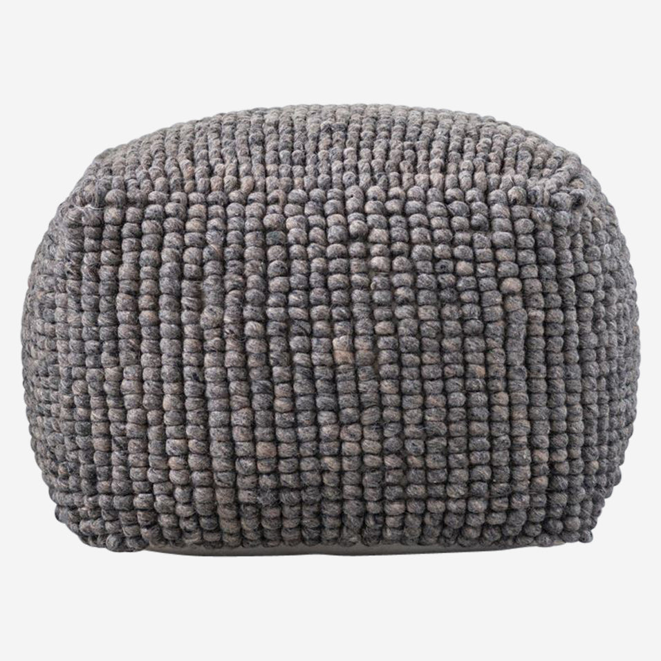 New Zealand Wool Pouf Grey