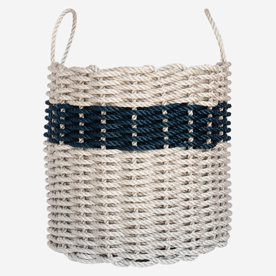 Light Gray & Navy Rope Bin