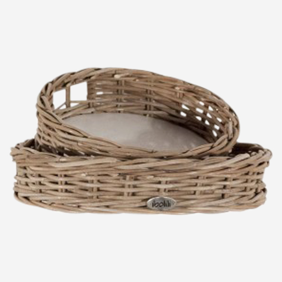 French Grey Rattan Round Tray