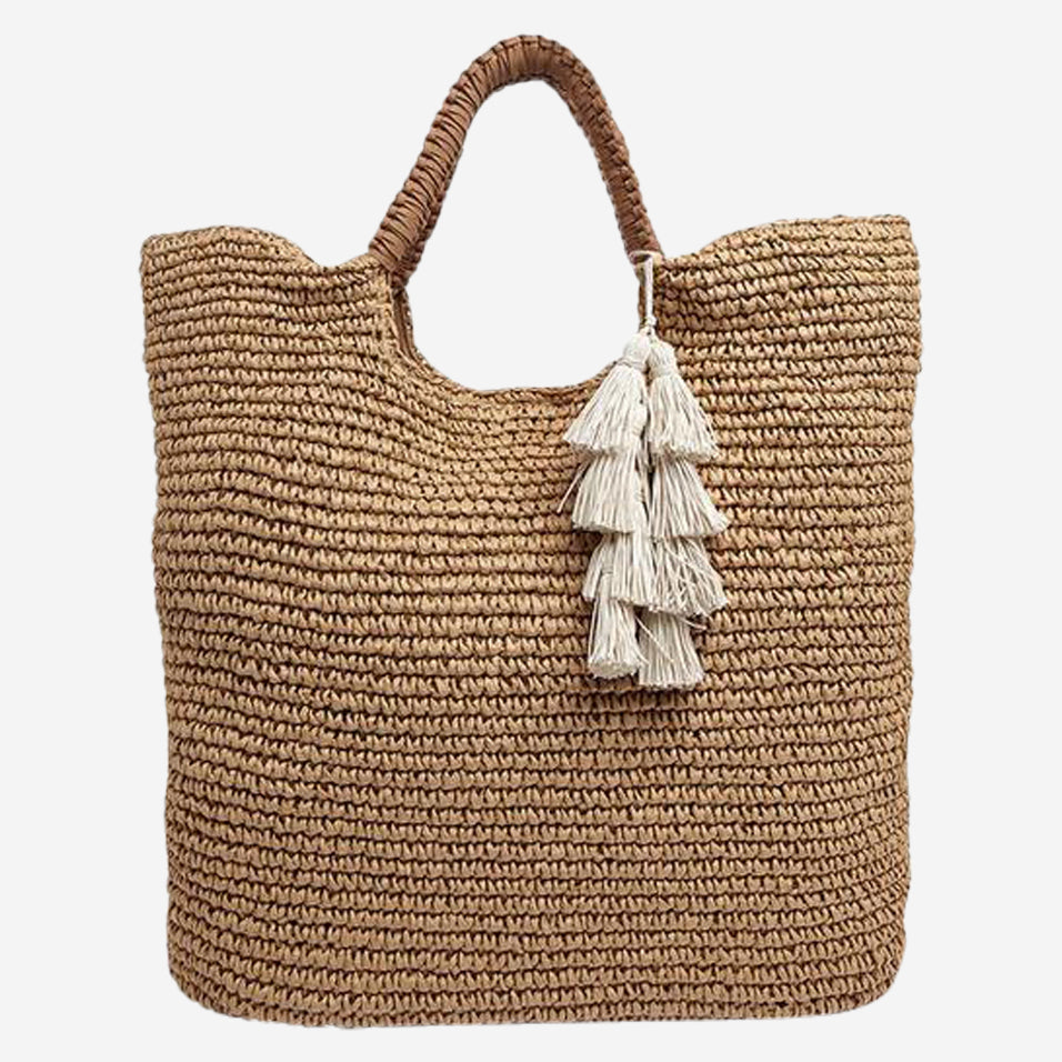Mel Woven Straw Beach Tote