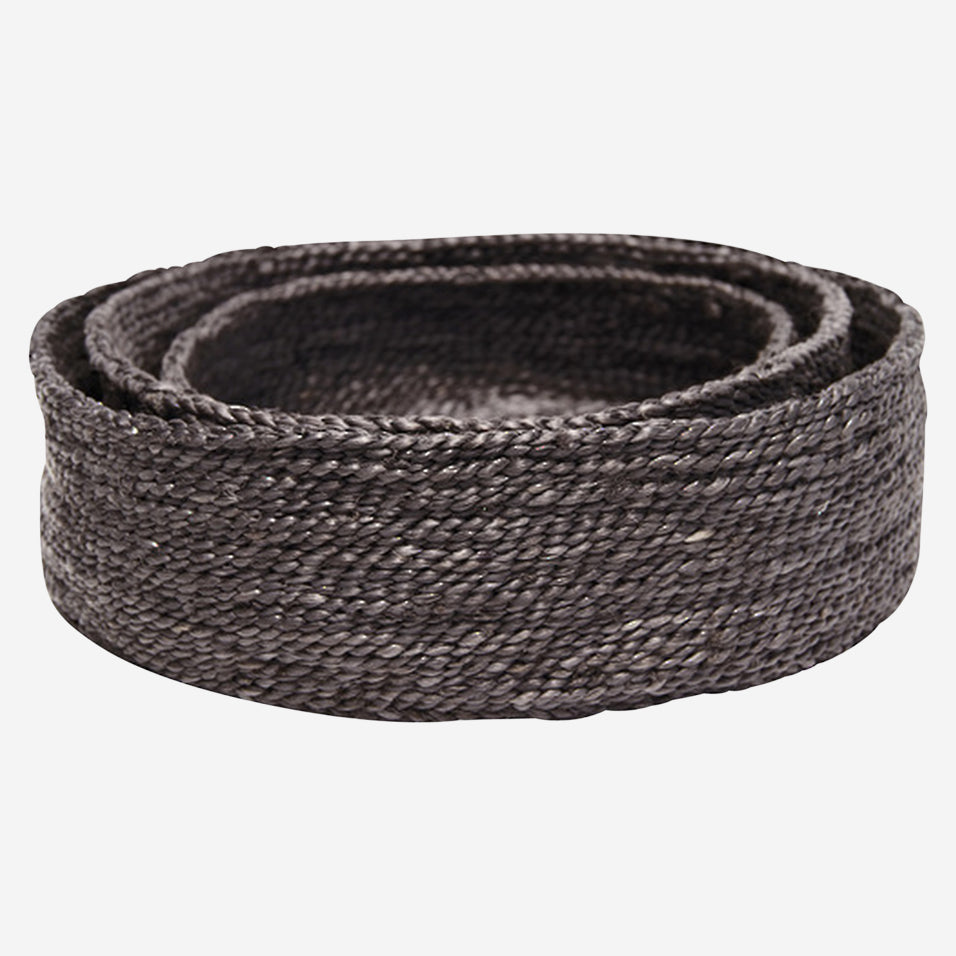 Trio of Round Jute Basket Black