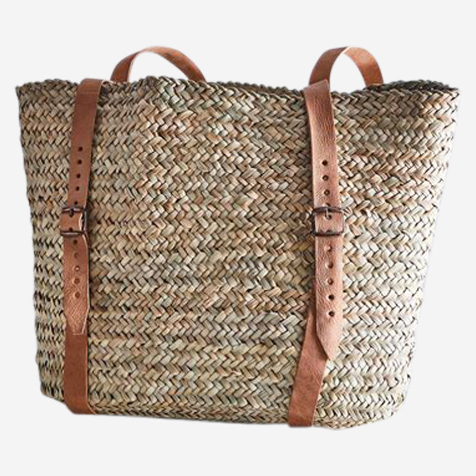 Woven and Leather Backpack