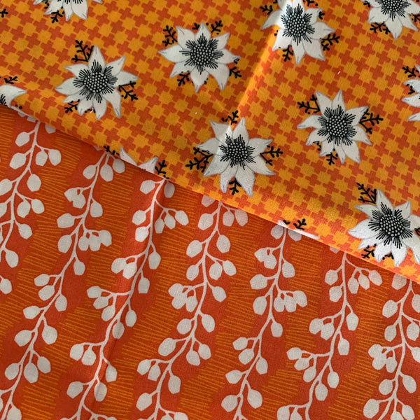 Orange flower set of two