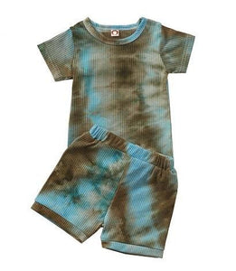 Tie Dye Set Short - Blue/Brown