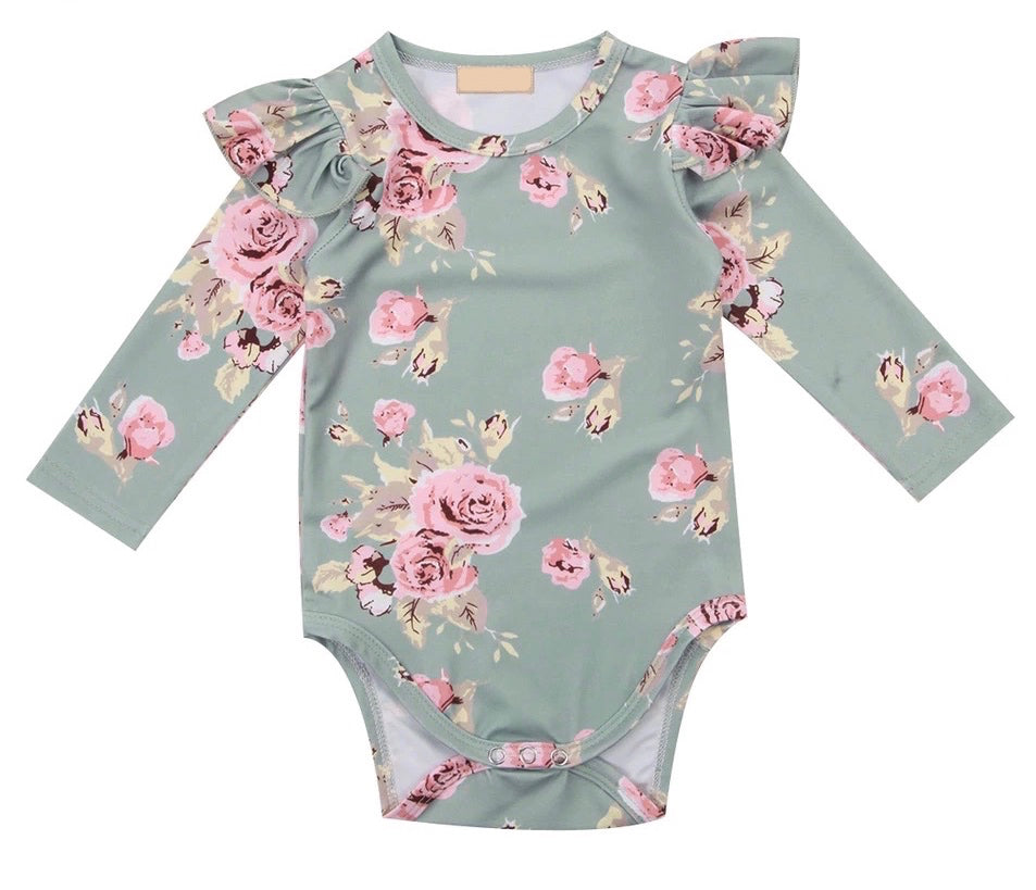 Frilly Bodysuit Long Sleeve - Floral