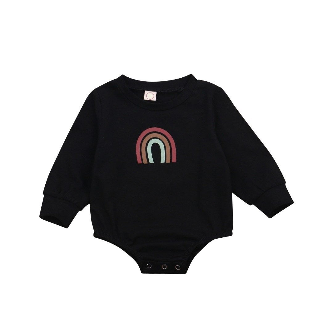 Rainbow Bodysuit Long Sleeve - Black