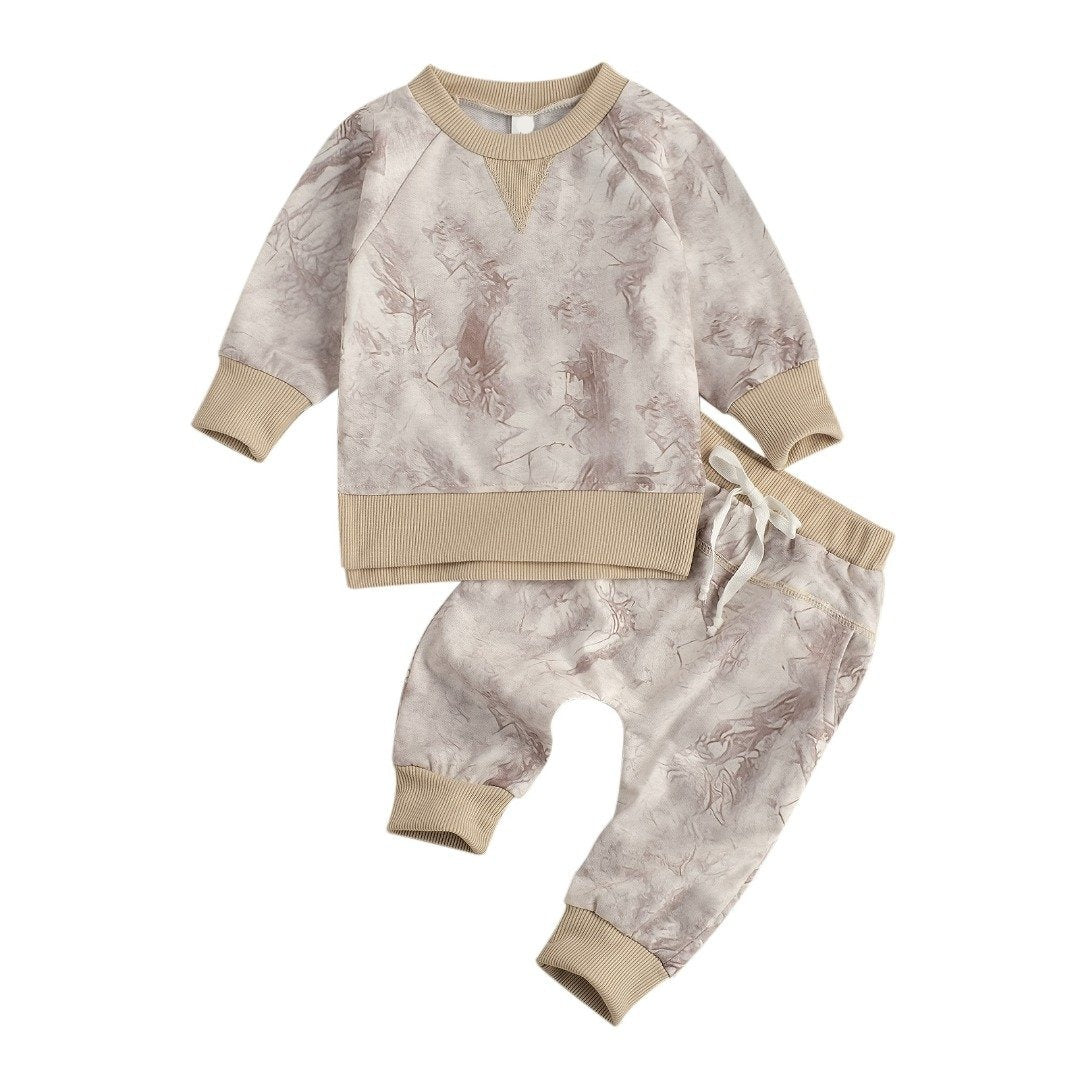 Marble Tracksuit Set - Tan