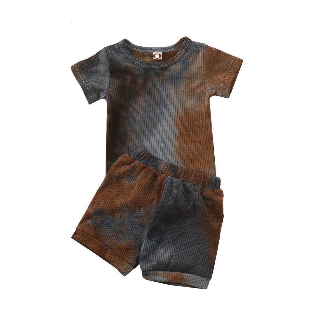 Tie Dye Set Short - Grey/Brown