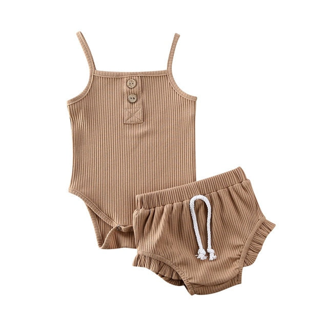 Singlet Bodysuit Set - Tan
