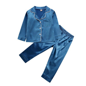 Long Satin Pyjamas - Navy