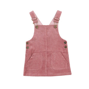 Corduroy Dress Overalls - Rose