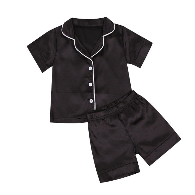 Short Satin Pyjamas - Black