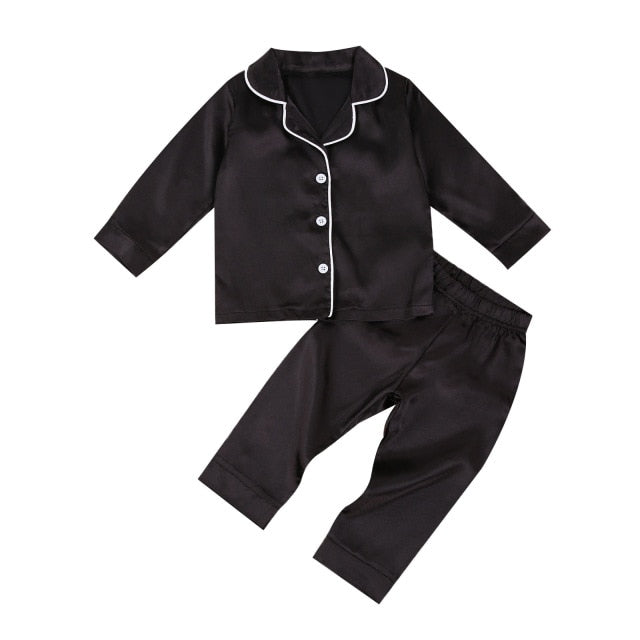 Long Satin Pyjamas - Black