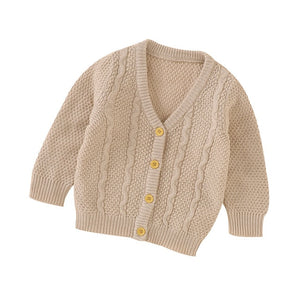 Button Up Knit Cardigan - Tan