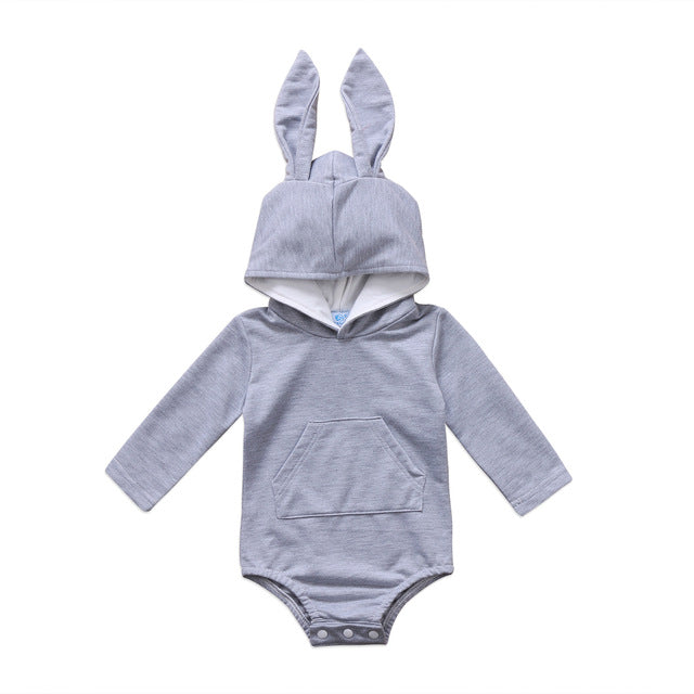 Hooded Bunny Ears Romper - Grey