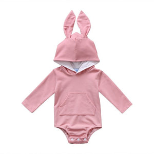 Hooded Bunny Ears Romper - Pink