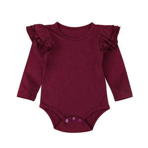 Frilly Bodysuit Long Sleeve - Burgundy