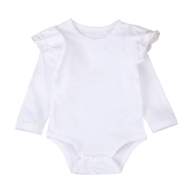 Frilly Bodysuit Long Sleeve - White