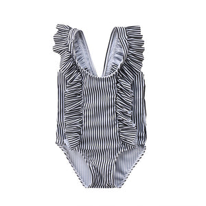Striped Ruffle One Piece - Black