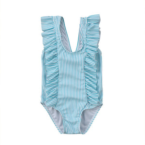 Striped Ruffle One Piece - Blue