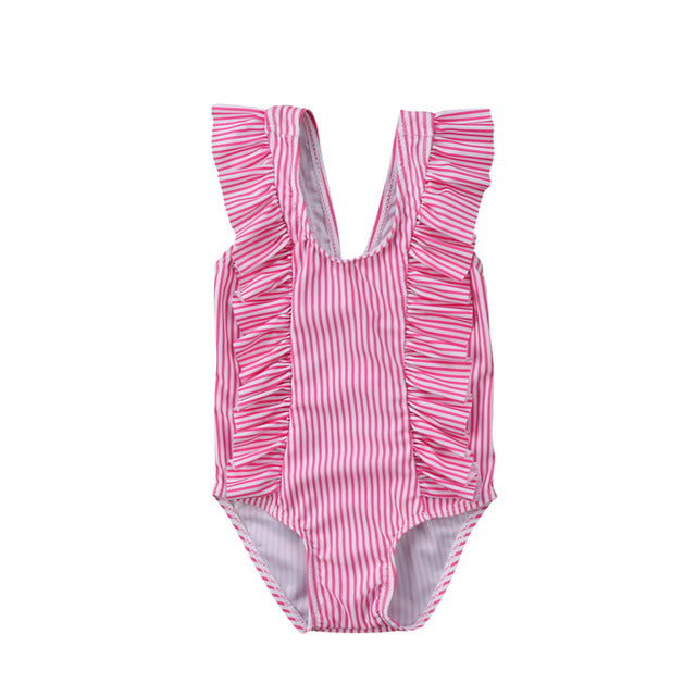 Striped Ruffle One Piece - Pink