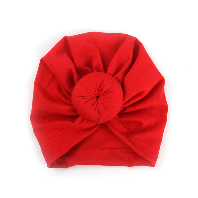 Top Knot Beanie - Red