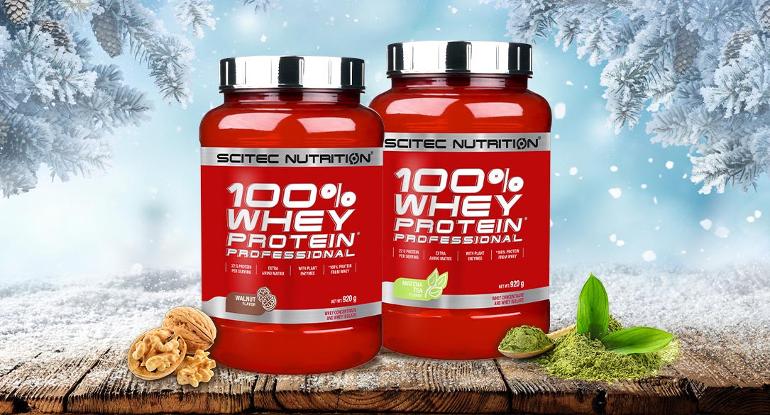 Two packs of the winter flavours of Scitec 100% Whey Protein Professional