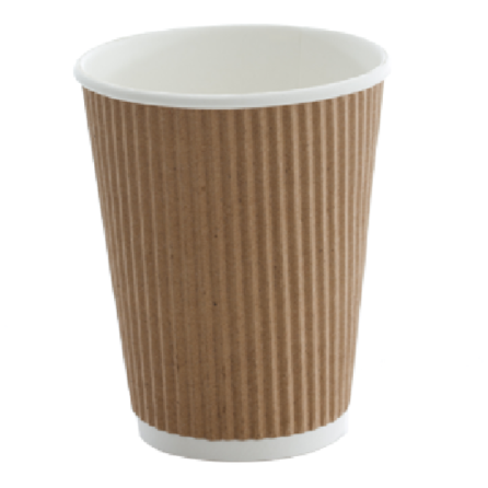 Dimpled Hot Beverage T/A Cup (Small (280ml) / Brown) (25 Per/ Sleeve)