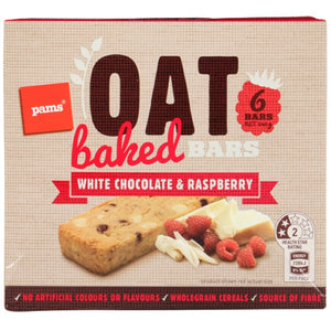 PAMS BAR BAKED OAT WHTE CHOC/RASPBRRY 6S