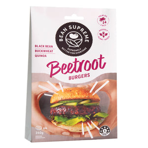 Bean Supreme - Vegan Beetroot & Black Bean Burger Patties 340g x 4