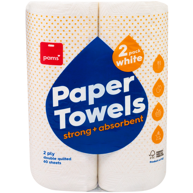 PAMS PAPER TOWEL TALL 2PLY WHITE X4