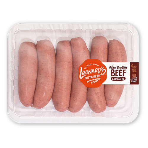 Leonard's Olde English Beef Sausages 6 Pack