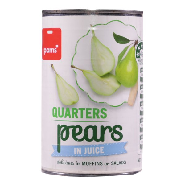 PAMS PEARS CANNED QUARTERS IN JUICE 410G