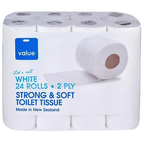 VALUE TOILET TISSUE 2PLY WHITE 24S