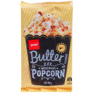 Pams Butter Popcorn (Microwave/ 3 x 100g Packs)