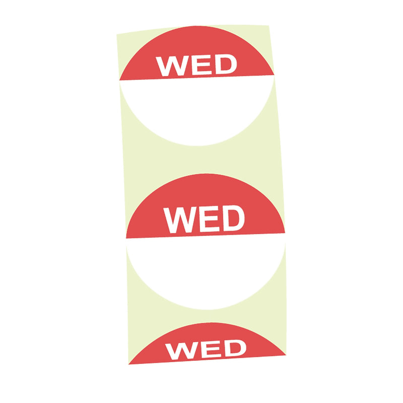 Day Label (Wednesday/ Red) (1000 Per/ Carton)
