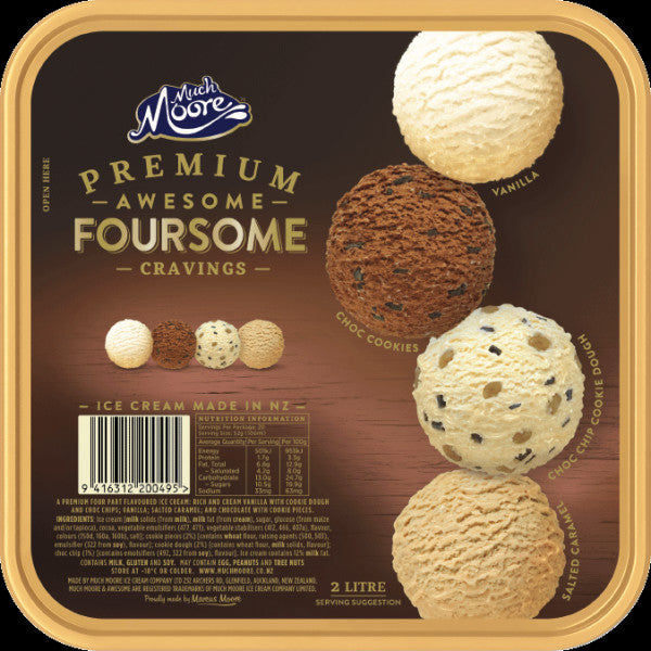 Much Moore Premium Ice Cream Awesome Foursome Cravings 2L