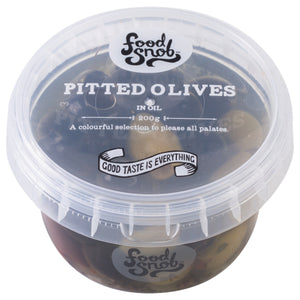FOOD SNOB PITTED MIX OLIVES 180g